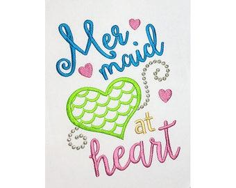 Mermaid at Heart T-Shirt Machine Embroidery Design 5x7 6x10 hoop DE050
