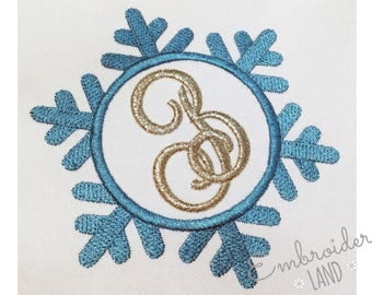 Snowflake Monogram Font Frame Machine Embroidery Design Christmas New Year Winter FF021