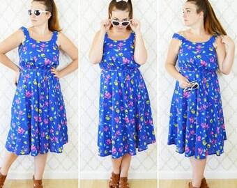 SUMMER SALE Vintage 70's Blue Floral Cotton Sundress - Casual Strappy Summer Day Dress - Garden Party Tea time Brunch Dress - Size Medium to