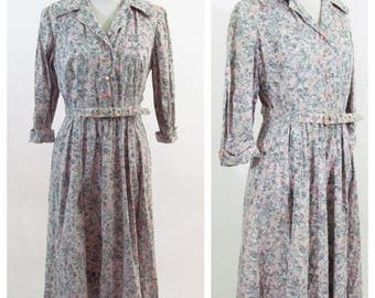 SUMMER SALE Vintage 50s Grey Pink Floral Casual Day Dress - Long Sleeve Button up Belted 1950's Secretary Dress - Tea Time Garden Party  - s