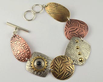 Mixed Metal Bracelet - Oxidized Bracelet - Artisan Bracelet - Copper Jewelry