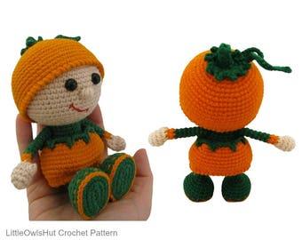 127 Crochet Pattern - Girl doll in a Pumpkin outfit - Amigurumi Halloween PDF  Stelmakhova Etsy