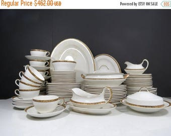 ON SALE Harker Pottery Dinnerware Set // Antique Service for 10 with Serving Dishes Art Deco Gold Band Early 1900's Edwardian Wedding China