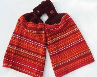 Rustic Red Crochet Top Kitchen Hand Towel Set of 2