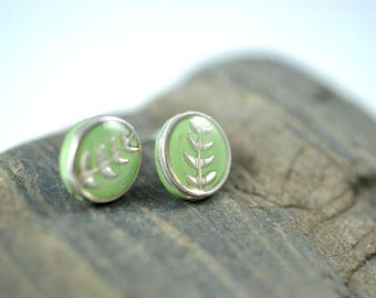 Green and Silver High Gloss Stud Earrings