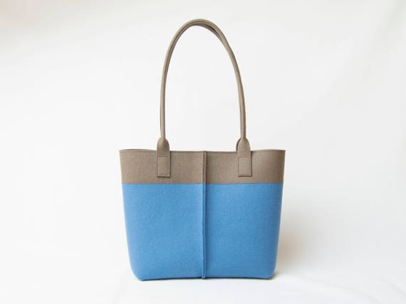 Wool Felt TOTE BAG blue and taupe / bicolor tote bag / womens bag / felt shoulder bag / carry all bag / blue bag / made in Italy
