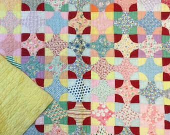 Quilt / Star Quilt / Four Point Star Quilt / Feed Sack Quilt / Vintage Quilt / Handmade Quilt / Homemade Quilt / Circle Quilt
