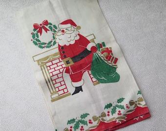 Santa Linen Towel Christmas Tea Towel Retro Sixties Santa Chimney Vintage Holiday Like New Condition Holiday Sewing Craft Projects