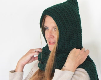 Green hooded scarf, open ends scarf with hood, green scoodie, long hooded scarf, Calypso Long