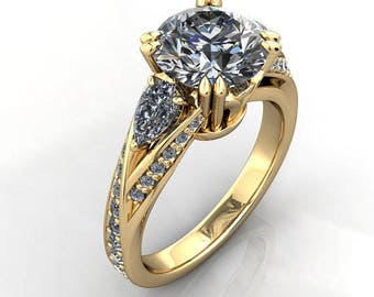 Charles and Colvard 9mm Forever Brilliant Moissanite and Diamond Tulip Pear Shoulders Solid 14k Yellow Gold Ring