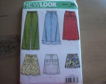 Sewing Pattern New Look 6811 Skirt, Pants & Shorts, size 8-18, Straight Skirt, Long Loose Pants, Drawstring Waist