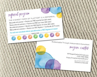 Referral Water Color Punch Card - Rodan and Fields - 3.5x2 - Customized - Set of 100 - Pearl Card Stock