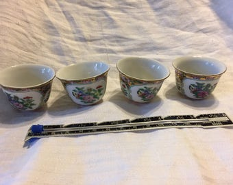 set of 4 porcelain doll dishes oriental handleless tea cups