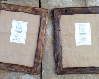 """Rustic/driftwood style frames in locally sourced,recycled, old pine .Medium dark or very dark beeswax finish.To fit 10""""x8"""""""