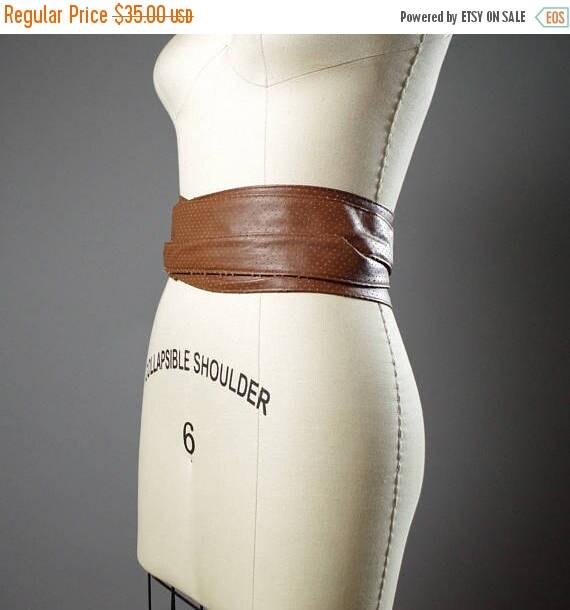 ON SALE Vegan Leather Obi Belt - Rustic Brown Vegan Leather Obi Belt - Women's Wrap Belt - Rustic Obi Belt - Boho Brown Belt