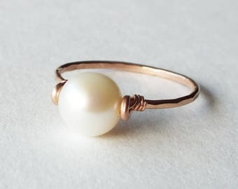 June Birthstone - Freshwater Pearl Rose Gold Filled Ring - Pearl Ring - Rose Gold Ring - Stacking Ring - Rose Gold Jewelry - Wedding Ring