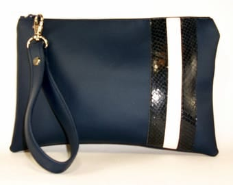Vegan Bag, Blue Wristlet, iPhone Wristlet