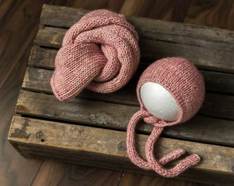 MAEVE Newborn Hat and wrap set Bonnet Newborn Bonnet Newborn Boy Props Knit Hat Newborn Knit Hat Photo Props Photography Props Newborn Prop