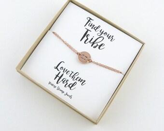 Best Friend Gift, Find your Tribe, Delicate Gold Bracelet, Arrow Bracelet, Rose Gold Disc Bracelet, Anchor Bracelet/Monogram Bracelet