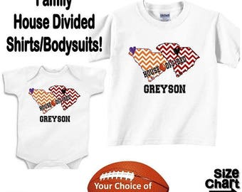 SALE Personalized House Divided Football South Carolina Love Family Baby Kids Adults T-shirt Bodysuit - Your Choice of States & Colors