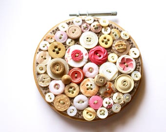 BIRTHDAY CAKE BEACH, Embroidery Hoop Textile Art Piece, Small Wall Art, Vintage Buttons, Pink, Shell, Cream, Sand, Light Chocolate