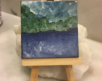 """Original Handmade Art with Small Easel; Mini Square Canvas 2.5"""" of a Lake and Trees/Abstract Landscape in Blue and Green"""