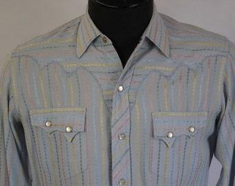 Vintage Tem Tex Blue Multi-ColorWestern Shirt Sz S Rockabilly Western Ranchwear