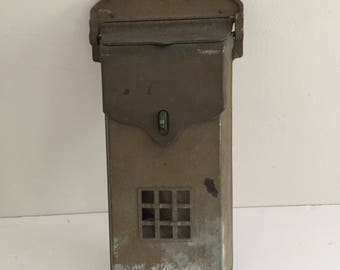Vintage Wall Mount Metal Mailbox  HB Ives New Haven CT
