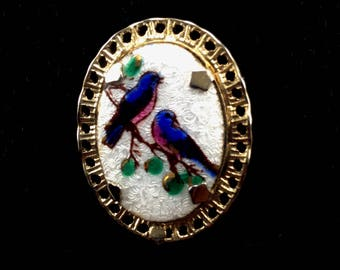 Bluebirds Brooch Guilloche Enamels 22k Gold Leaf Accents Gold Plated Mount Cameo Pin True Vintage Jewelry