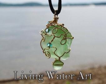 Green Sea Glass Necklace / Green Sea Glass Jewelry / Green Sea Glass Pendant / Beach Glass Necklace / Ocean Necklace / Beach Lover's Pendant