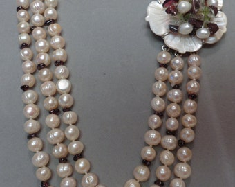 Spectacular Magnolia Blossom Clasp and Freshwater Pearl and Garnet Necklace