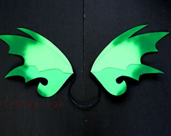 Green Ombre Fairy Dragon Wings (1 Pair) flexible harness Costume wings for gothic dress up,Halloween, Ren Faire, dragoncon, fantasy cosplay
