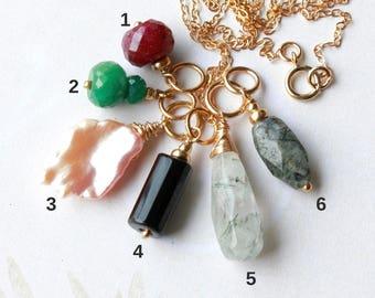 Gemstone Pendant Charm Necklace, Goldfilled wire wrap, dainty petite, ruby emerald black onyx tourmaline quartz, layered necklace, gift idea