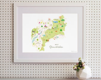 Map of Gloucestershire Art Print