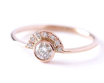 ON SALE Diamond Ring, Dainty Engagement Ring, Rose Gold Diamond Ring, Half Diamond Halo Ring, Diamond Crown Ring, 0.2 Carat Diamond Ring