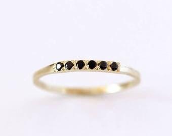ON SALE Pave Black Diamond Wedding Band, Thin Diamond Band, Black Diamond Ring, Black Wedding Band, Six Diamonds Band, Modern Wedding Band