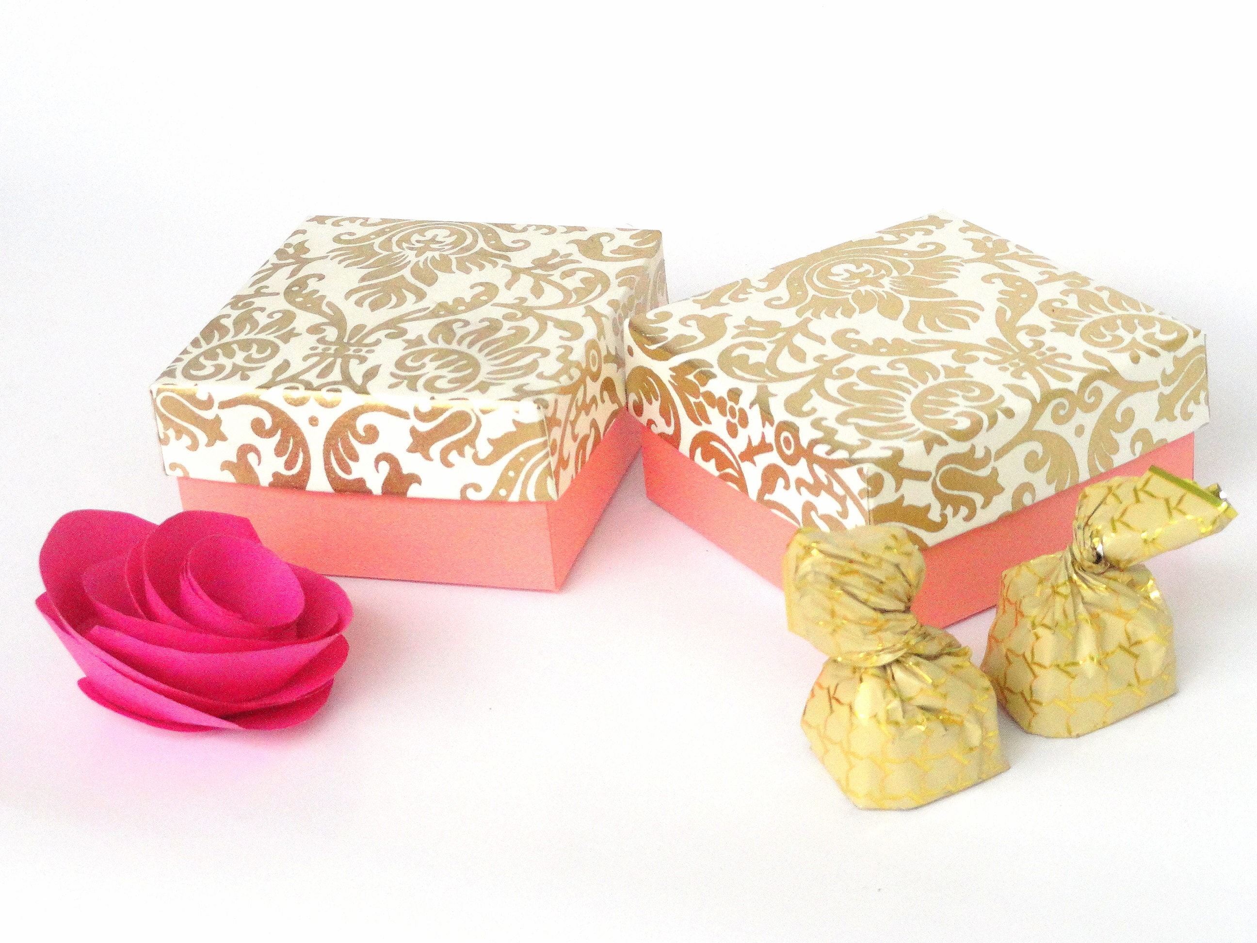 Blush Pink n Ivory gold Damask Print boxes, Wedding favor box ...