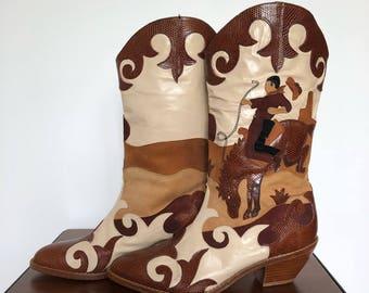 80s Zalo Western Boots Leather Appliqué Cowboy