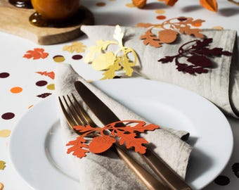 Rustic Wedding Place Setting - Oak Leaf Table Decoration - Table Decorations for Thanksgiving - Woodland Wedding Place Setting - Fall Decor