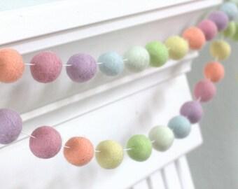 Pastel Rainbow Felt Ball Garland- Nursery Decor Felt Pom Pom Garland Wall Hanging- Children's Room