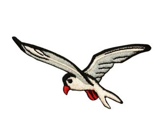 ID 0608A Seagull Flying Patch Beach Ocean Sail Gull Embroidered Iron On Applique