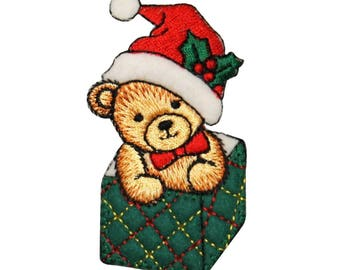 ID 8029 Teddy Bear In Present Patch Christmas Gift Embroidered Iron On Applique