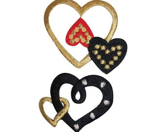 ID 3252AB Set of 2 Gold Hearts Patch Valentines Day Embroidered Iron On Applique