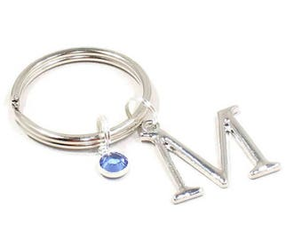 Initial Keychain Initial Charm Personalized Birthstone Letters Teacher Gift  Mom Mother Best Friend Aunt Daughter