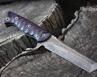 """Handcrafted FOF """"Fatal Chisel"""" Full tang fixed blade Tanto and Custom Tactical knife"""