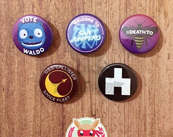 Black Mirror inspired buttons - pinback or magnets ||| San Junipero The Waldo Moment Hated In The Nation USS Callister White Bear Sci Fi