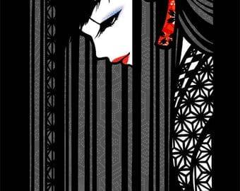 Japanese Kimono illustration -Black Hair Girl- art print after original art -Free Shipping!!