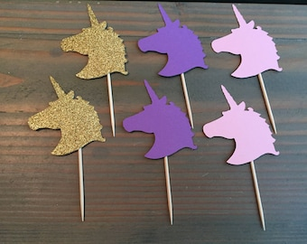12 gold glitter, pink & purple unicorn head cupcake toppers, party decor,unicorn party, birthday party, baby shower