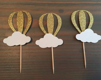 12 gold glitter hot air balloon cupcake toppers, baby shower, birthday party