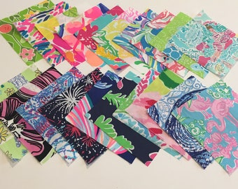 Fabric squares/quilting 5 X 5 inches 20 to a set  ~Lilly Pulitzer~